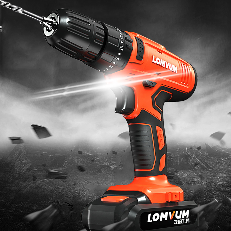 LOMVUM Electric Drill Imapct 21V Cordless Drill Rechargeable Electric Screwdriver Power Tools Carry Box 2 Speed 110v/22v for DIY