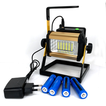 2017New Waterproof IP65 50W LED Floodlight Rechargeable 36LED Flood Light SpotLights Light For Outdoor C+4*18650 battery