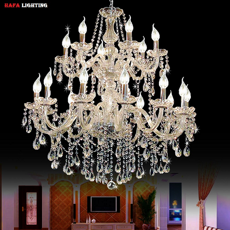 Lighting Basement Washroom Stairs: Large Foyer Modern Chandelier Stair Long Candle Crystal