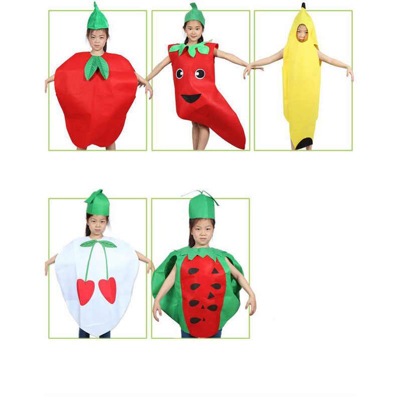 Модное детское маскарадное платье унисекс Детский костюм с рисунком фруктов и овощей праздничный наряд Одежда для выступлений для мальчиков и девочек BFJ55