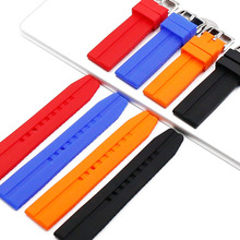 Outdoor sports silicone strap men 22mm pin buckle rubber watch accessories waterproof band