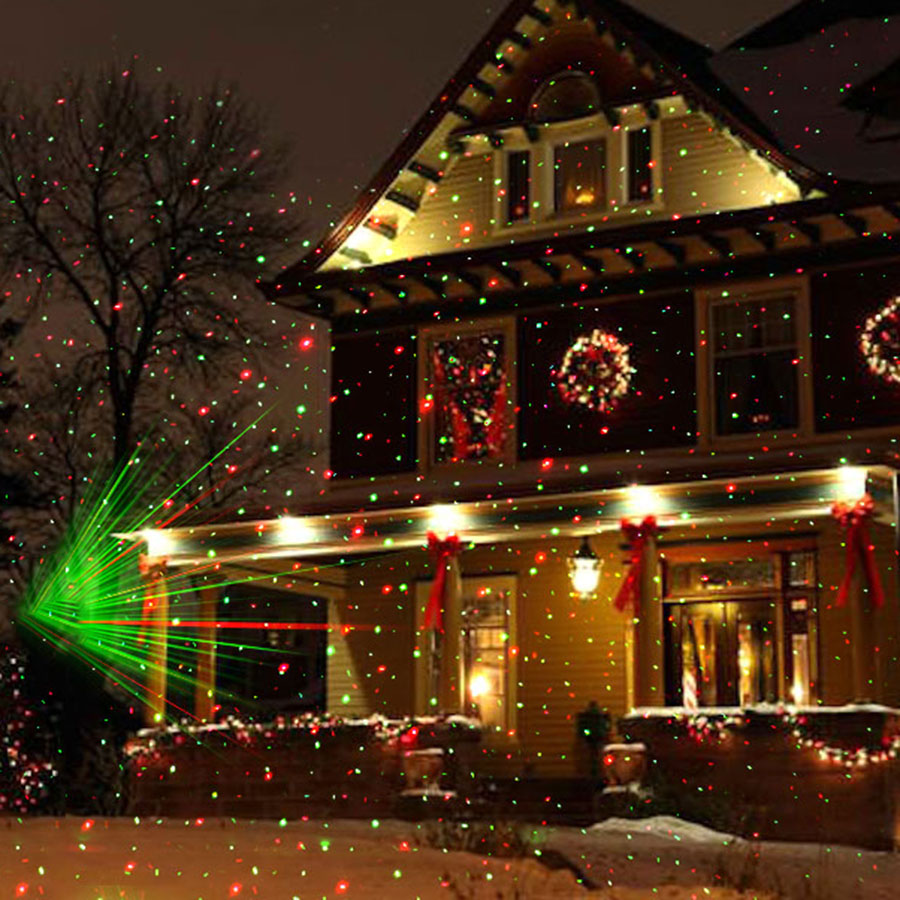 Christmas Laser LED Projector Lamp Green&Red LED Stage Light Outdoor Landscape Lawn Garden Starry Light christmas waterproof laser lighting landscape sky star green red laser effect projector stage light for outdoor garden lamp