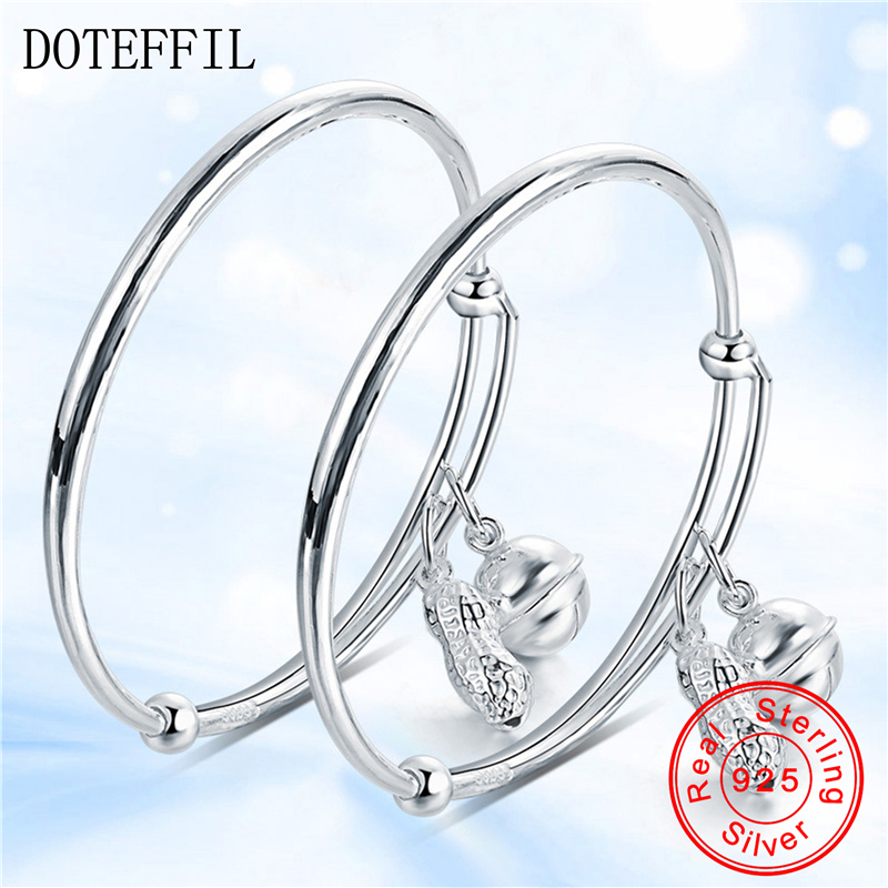 2pcs Solid 925 Sterling Silver Children's Bracelet Bangles Bells Peanut Pendant Bracelet Bangles Boy Girl Jewelry
