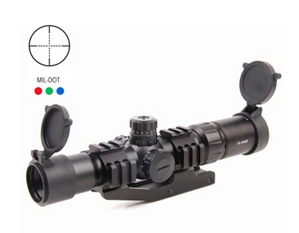 Mil-Dot Tactical Monocular Telescope 1.5-4x30 Compact Shooting Riflescope Illuminated Chevron Red Dot Sight Free Mount shipping canis latrans tactical mini 1x red 2moa dot dot size free shipping cl2 0078
