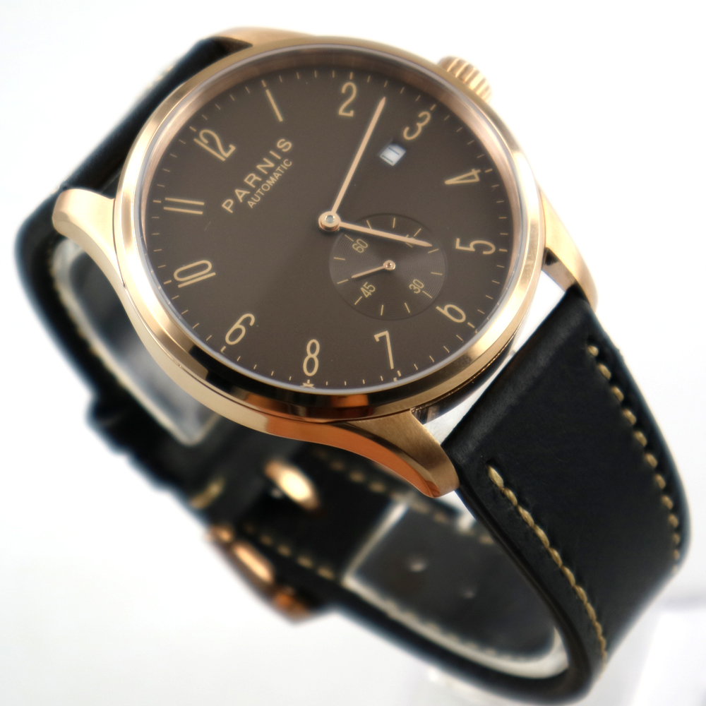 42mm parnis coffee dial rose golden case date window automatic mens watch цена и фото