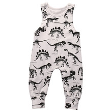 Sleeveless Dinosaurs Print Baby Rompers For Boy,Kids Cotton Jumpsuits Summer(China)