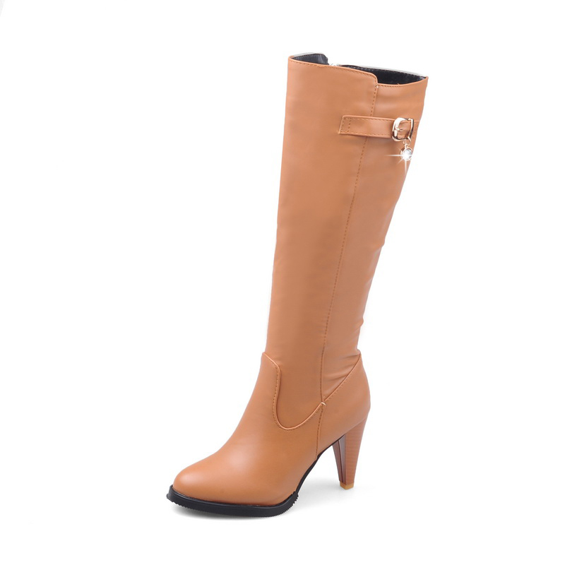 ENMAYER Top quality comfortable leather boots women  pointed toe thin heel lady high heels chunky boots Size34 43 ZYL133-in Knee-High Boots from Shoes    3