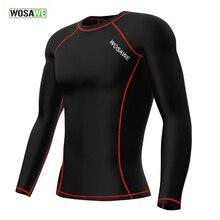 WOSAWE Men's Compression Base Layer Top Cycling Jersey Long Sleeve Mountain Biking Jersey Body Fit Sports Shirt 2 Colors