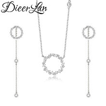 hot deal buy fashion wedding bridal jewelry sets rhinestone circle 925 sterling silver choker necklaces earrings for women statement jewelry