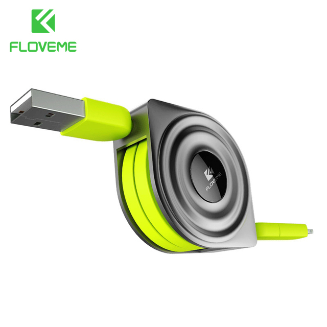 FLOVEME 2 in 1 USB Cable + Micro USB Cables Retractable Mobile Phone Charger for iPhone X 8 7 6 iPad Air 1M for Xiaomi Cabos