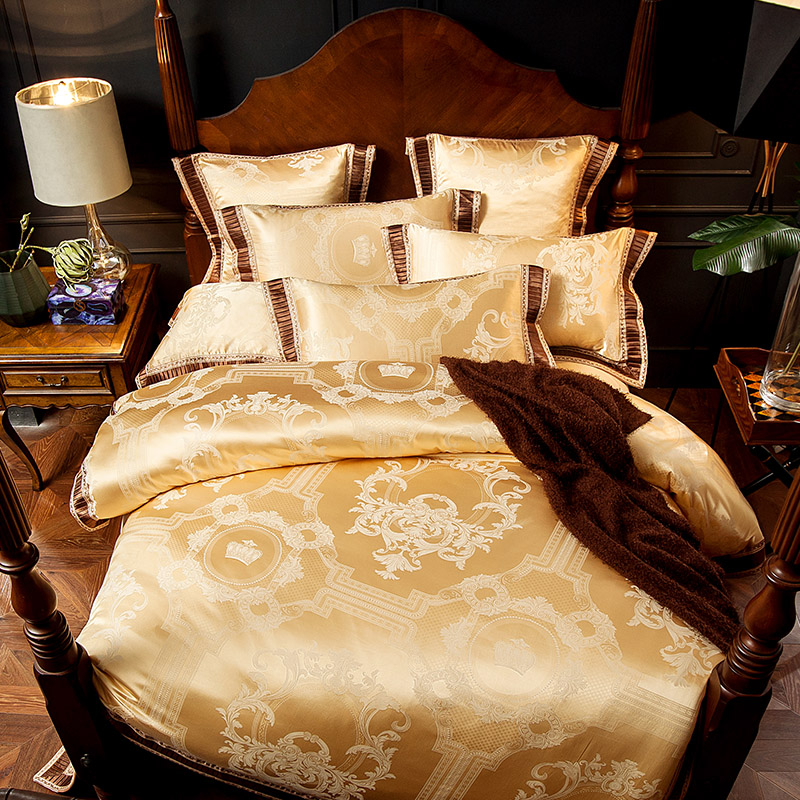 European Style Luxury Jacquard High Quality Bedding Set Queen King Size Duvet Cover Bed Sheets Polyester Cotton Textile SetsEuropean Style Luxury Jacquard High Quality Bedding Set Queen King Size Duvet Cover Bed Sheets Polyester Cotton Textile Sets