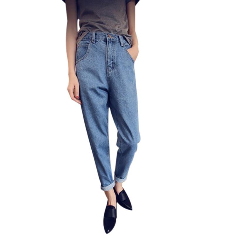 Fashion Women\'s Casual Loose High Waiast Blue Baggy Harem Denim   Jeans   Cropped Pants Autumn   Jeans   Boyfriend Trousers Female