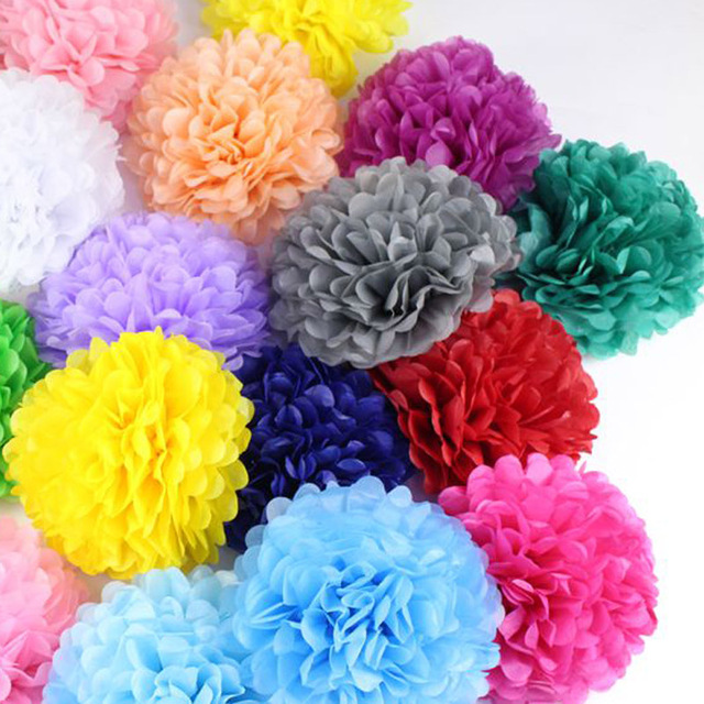 "Paper Balls Decoration Enchanting Tissue Paper Pom Poms 10Pcslot Diy 10""25 Cm Decorative Flower Decorating Design"