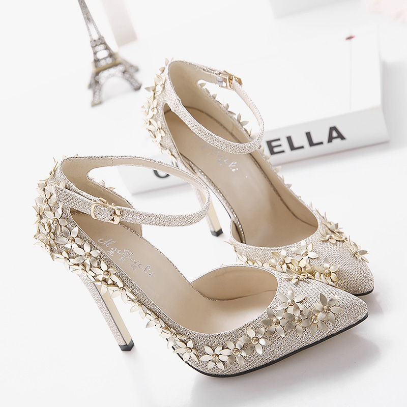 Fashion Metal Flower Gold Elegant Evening Shoes Women High Heel ...