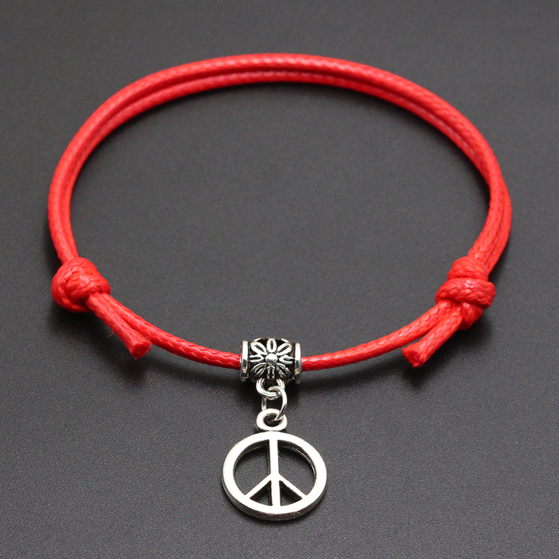 2020 New Peace Sign Pendant Red Thread String Bracelet Lucky Black Coffee Handmade Rope Bracelet for Women Men Jewelry