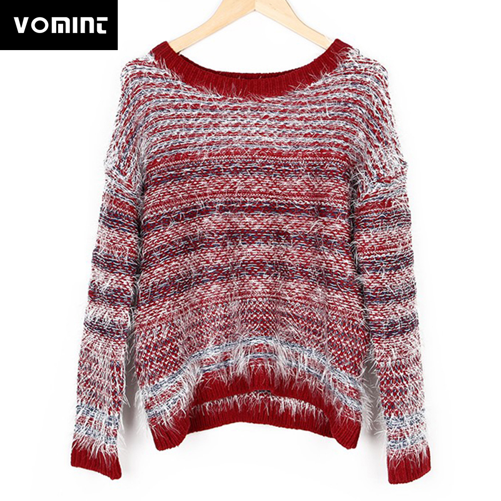 Women's Pullover Sweater Casual College Wind Hedging Mohair Wine Color Loose wild round neck Autumn & Winter S1901