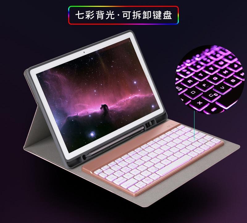 7 Color LED Backlight Wireless Bluetooth Keyboard Stand Leather Pencil Case For Huawei Mediapad M5 10.8 CMR-W09/AL09/W19/AL19