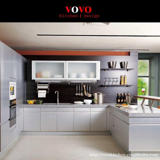 Glaçure blanc laque armoires de cuisine sans poignée dans Armoires on