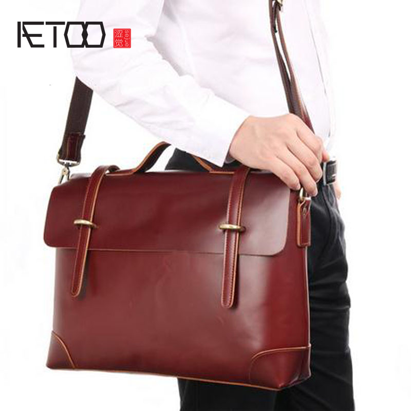 AETOO  First layer of leather high-end men's handbag simple atmosphere men's briefcase leather bag polo women golf club clothing bag handbag nylon first layer of leather