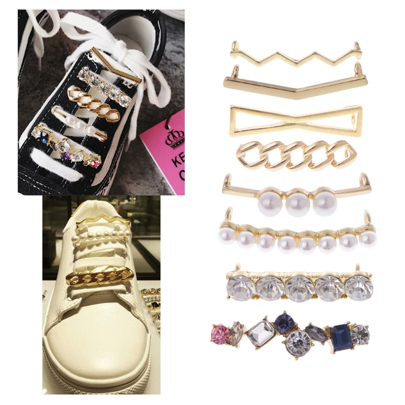 цена на 1 Pc Alloy Acrylic Shoelaces Clips Decorations Charms Faux Pearl Rhinestone Shoes Accessories Gifts