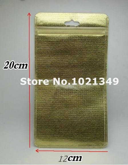 3000pcs/lot,12*20cm Gold/silver Self Seal Zipper Plastic Retail Packaging Storage Bag, Zip Lock plastic Bag W/ Hang Hole