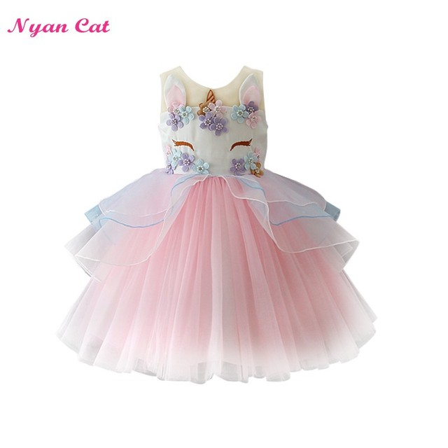 Retail Dropship Girls Dress New Unicorn Embroidery Flower Beading