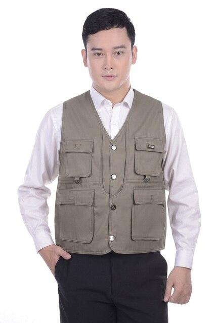 Человек весна плюс размер Твердые V-образным Вырезом Однобортный 100% Хлопок жилет мужской осень рукавов верхняя одежда Мульти-карман жилета