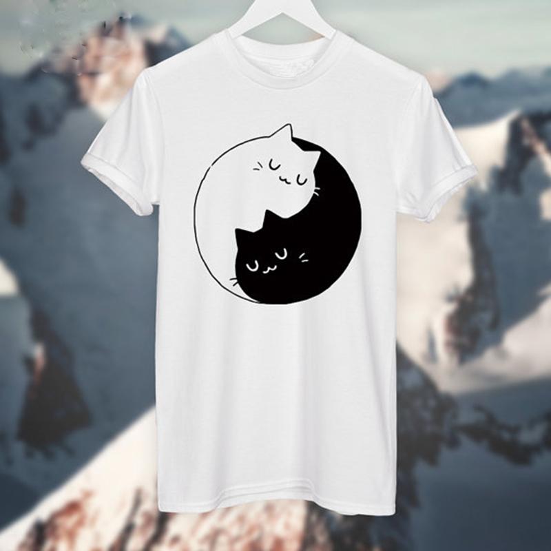 HTB1Sc7fOFXXXXXaXXXXq6xXFXXX1 - Yin Yang Cats Kittens T-SHIRT Women T shirt Cotton Casual