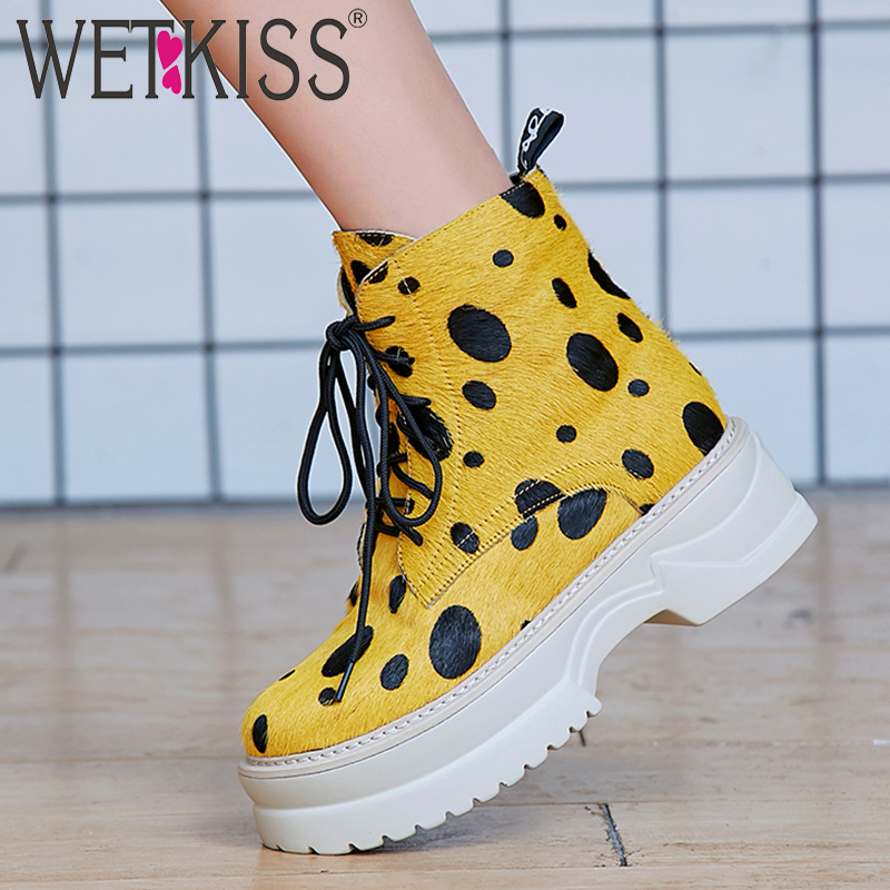 WETKISS Crin Femmes Cheville Bottes Bout Rond Lace Up Plat Sole Chaussures Plate-Forme des Femmes Boot Casual Chaud Chaussures Femme D'hiver nouveau