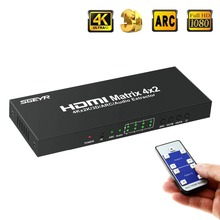 цена на HDMI Matrix 4x2 HDMI Matrix Switch 4 Input to 2 Output Support IR Remote with Audio Extractor ARC SPDIF Support 4Kx2K 2160p