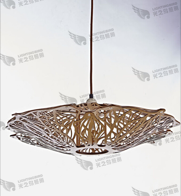 New Creative Wooden Chandeliers Factory Direct Specialty Restaurant Personality Wood Color Seaweed Chandelier Lighting