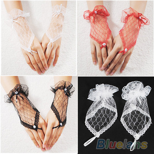 Hot Sexy Lace Wrist Fingerless Evening Party Short Gloves For Lady 0IYB