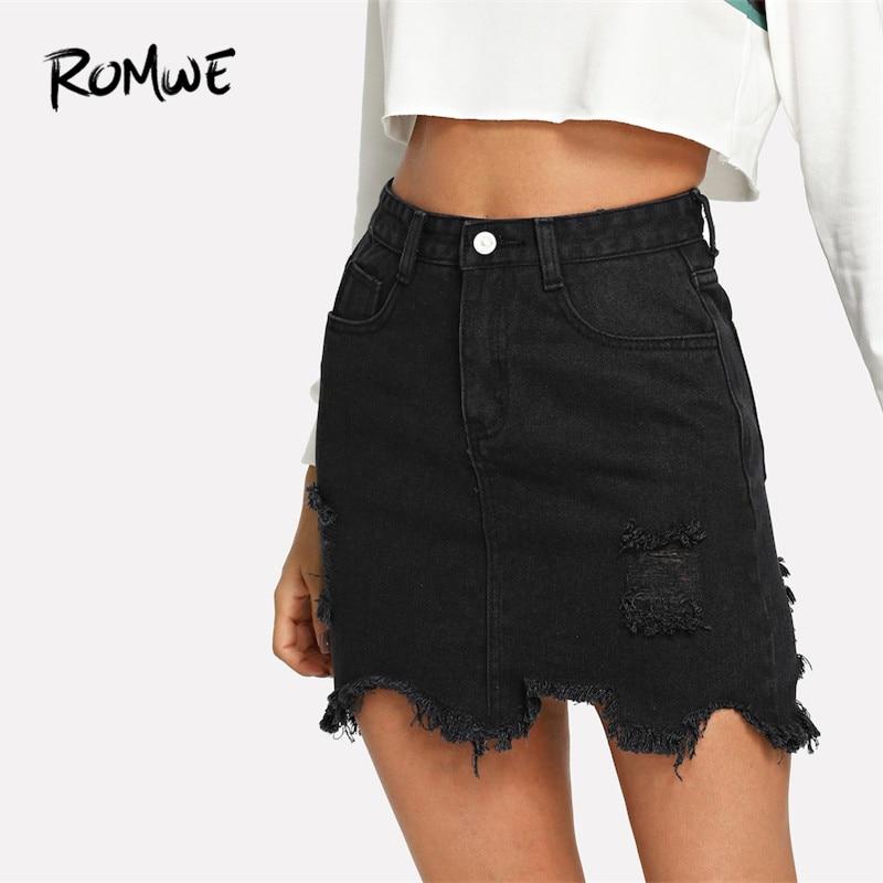 ROMWE Black Casual Ripped Split Denim Skirt 2019 Spring Mid Waist Straight Short Denim Skirts Woman Plain Sexy Pencil Skirt