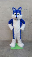 Deluxe Long Fur Blue Husky Mascot Costume Adult Fancy Suit Free Shipping