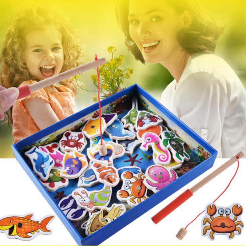 Бревна Детские деревянные игрушки 32 шт. рыбы игры Магнитная рыбалка игрушка набор настольная игра развивающие игрушки ребенка день рождени...