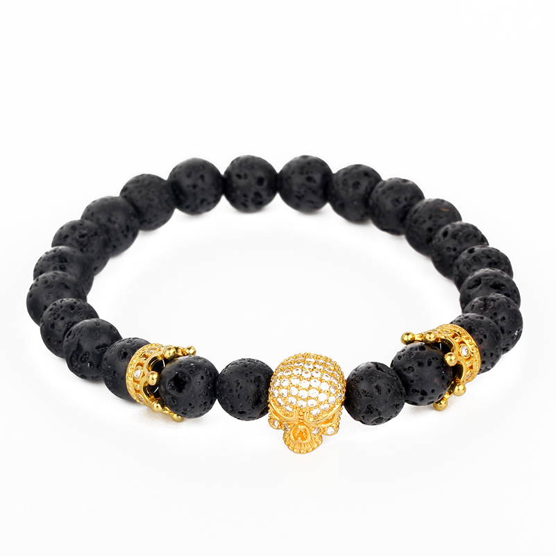 Fashion Strand Bracelet Skull Crown Friendship Bracelets Inlay pave Zircon Lava Stone man jewelry watch accessory