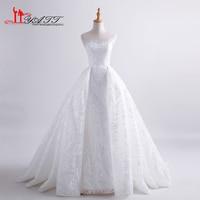 Luxury Chapel Train Ball Gown Wedding Dresses 2017 Lace Brisal Gowns See Through Back Vestido De