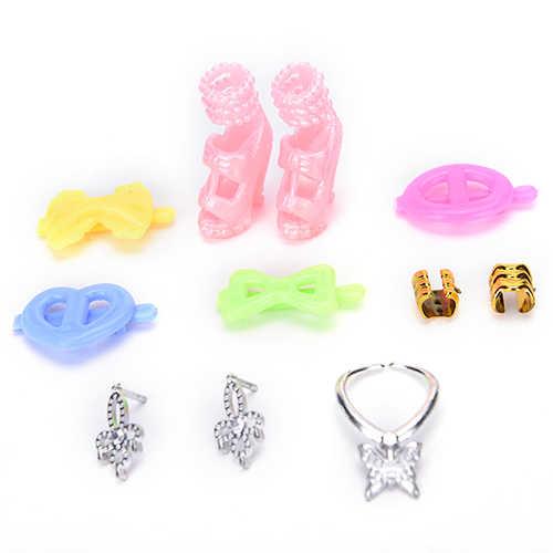 40 stücke Puppe Decor Fashion Schmuck Für Puppe Halskette Ohrring Bowknot Crown Schuhe Zubehör Puppen Mädchen Kinder Geschenk