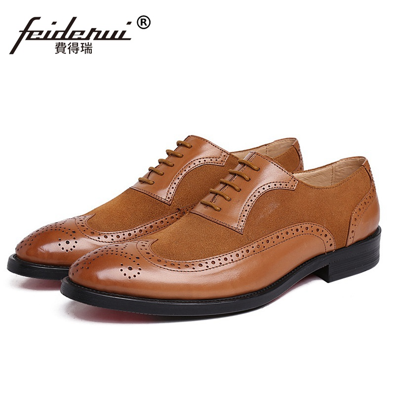Cow Suede Wing Tip Carved Man Dress Shoes Genuine Leather Brogue Oxfords Male Luxury Brand Round Toe Formal Men's Flats FK72 ruimosi high quality wing tip man dress