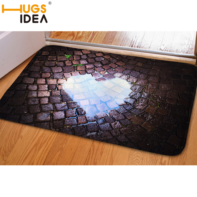 Hugsidea Heart Print Funny Entrance Doormat Soft Water Absorption Carpet Non Slip Rugs For Living