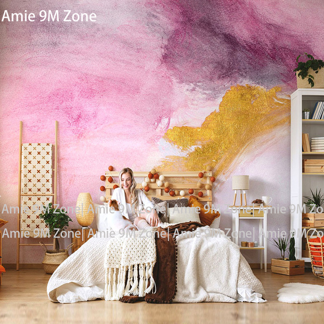 Tuya Art Boho Chic Fashion Light Pink And Gold Painting Mural Wallpapers For Living Room Wall Decor S Paper
