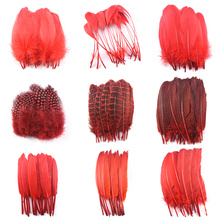 20pcsLot Various Red Feathers Rooster Goose Pheasant Feathers for Crafts jewelry making Peacock Ostrich Feathers Plumas Plumes