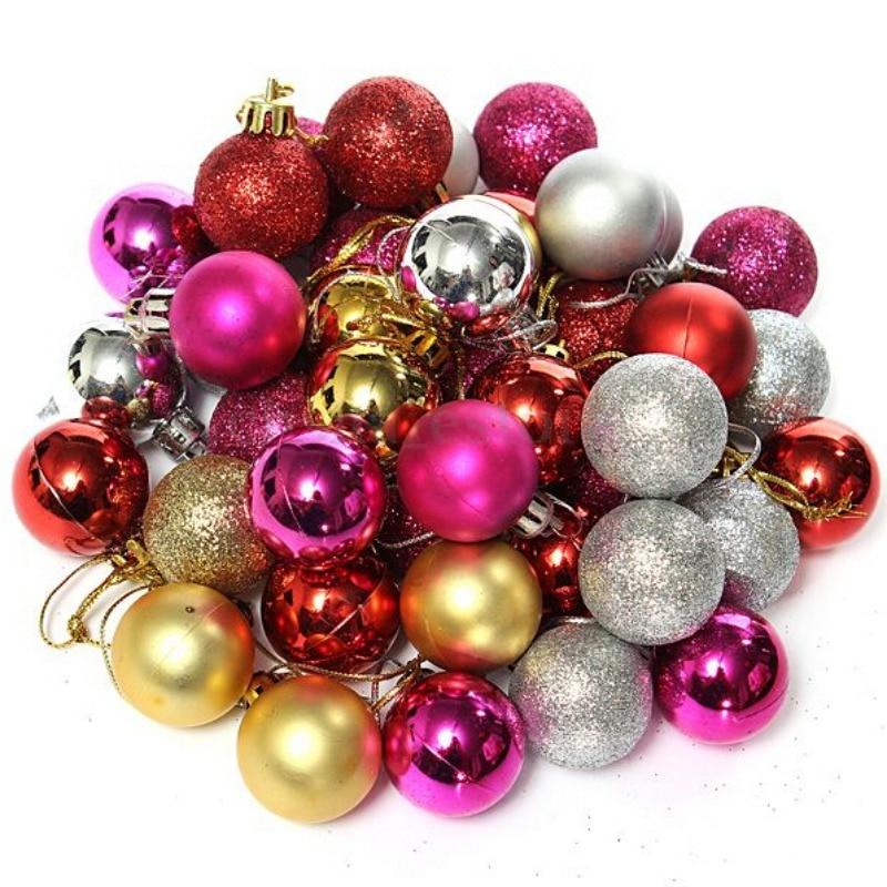 24pcs /set 3cm Christmas Ball Tree Decoration Diameter Xmas Balls Decorations Gift Hanging Ornament 11Colors