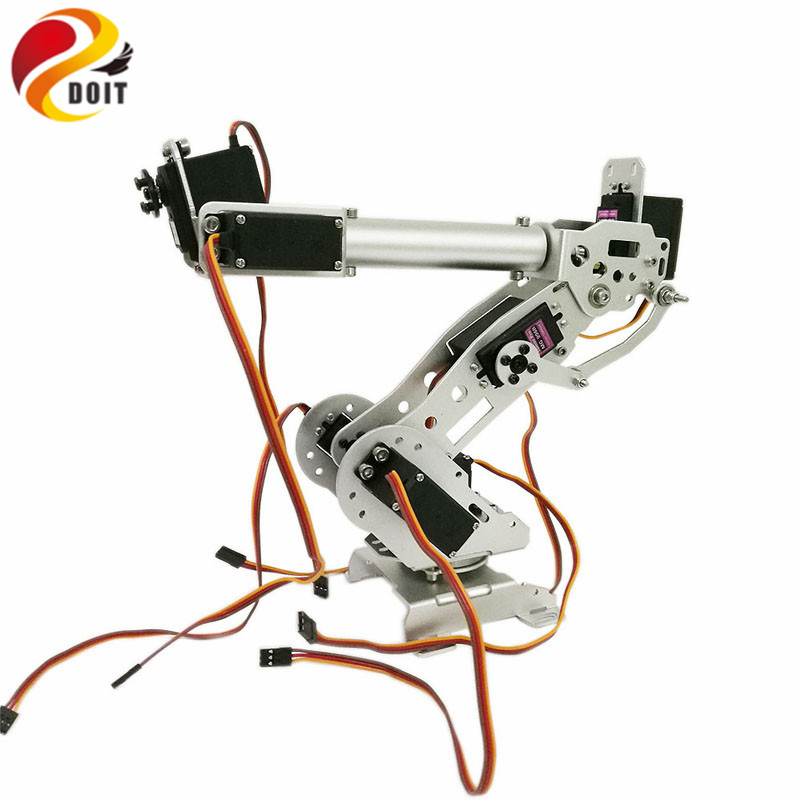 DOIT 7 DOF Robot Arm for Arduino Aluminium Clamp Claw Machinery Mechanical Metal Stainless Steel Manipulator DIY RC Toy 6 dof metal mechanical arm robot manipulator robotic claw robotics part for diy rc toy remote control clamp paw claw servo