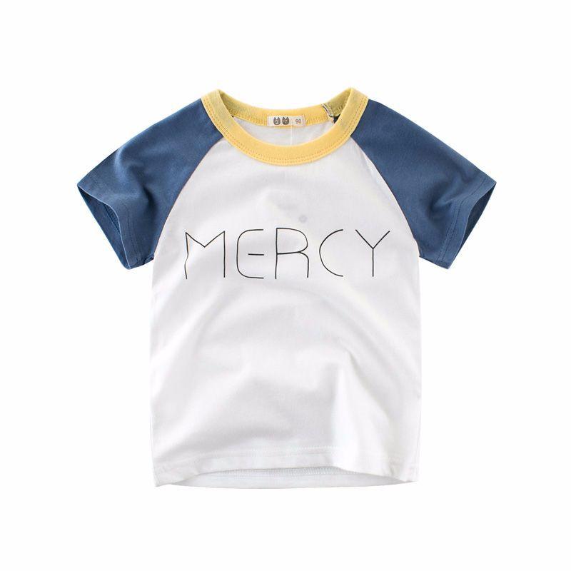 kids tshirts boys girls clothes summer children t-shirts Short sleeve letter children clothing t shirt 100% cotton blue Khaki