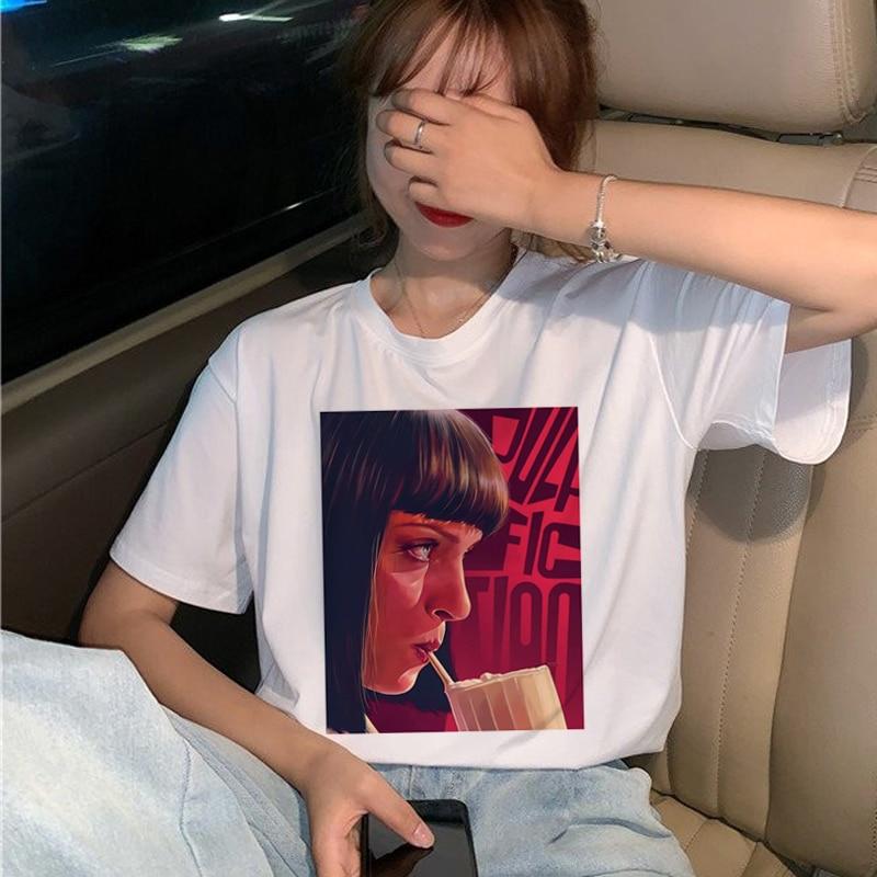 New Pulp Fiction Movie T Shirt Women Harajuku Ullzang 90s Korean T-shirt Aesthetic Funny Print Tshirt Graphic Top Tees Female 12