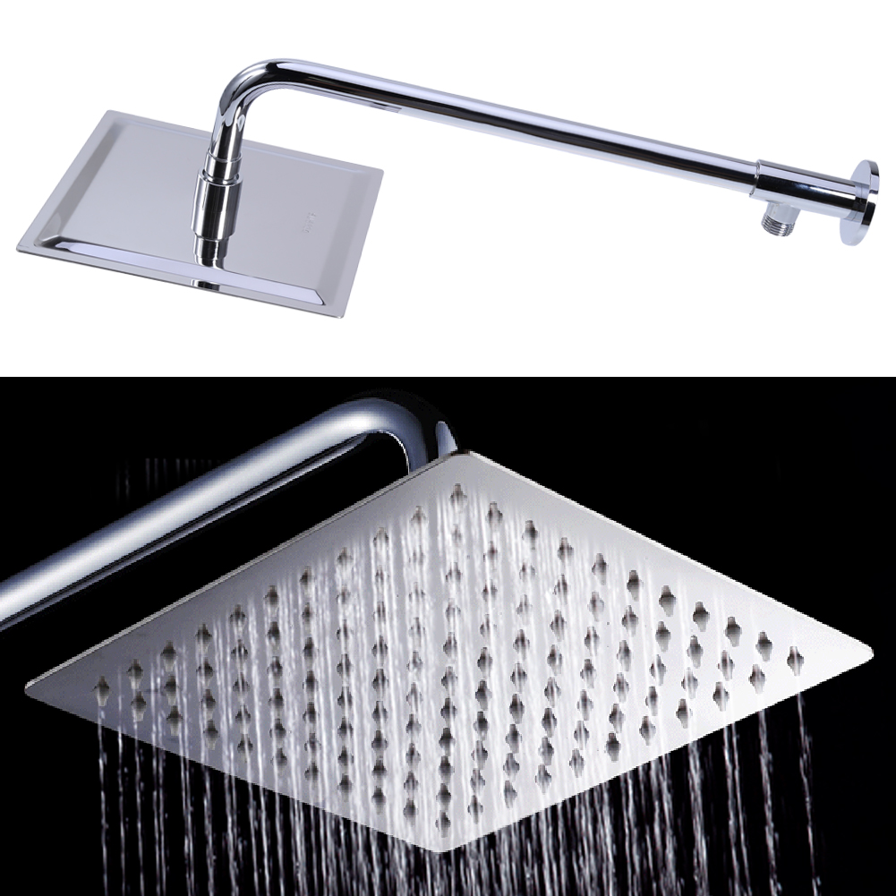 8 inch Stainless Steel Square Shower Head Rainfall Shower Head Bathroom shower head with Extension Arm Bottom Entry H