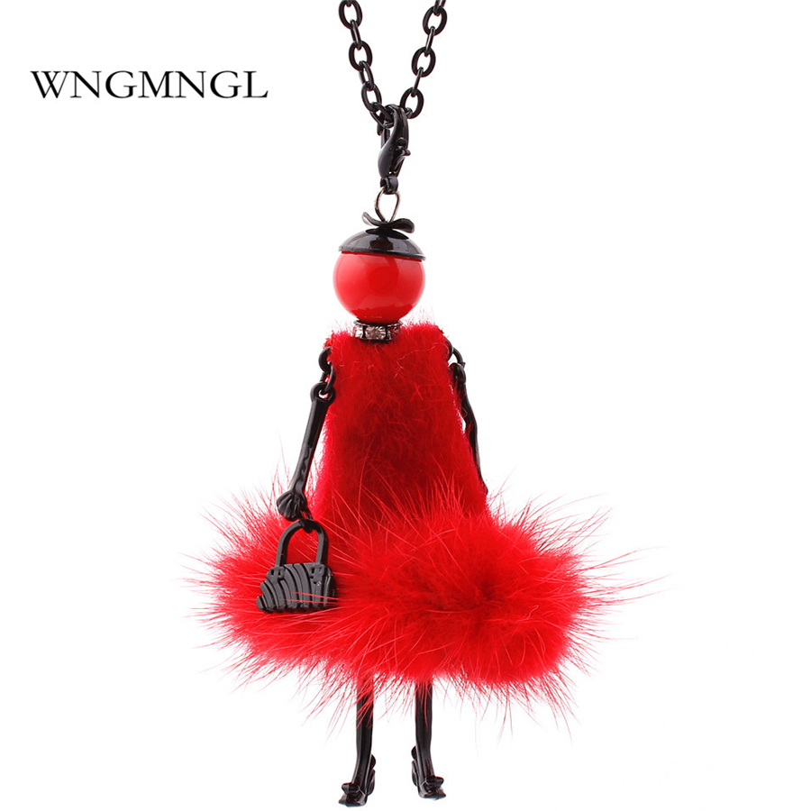 WNGMNGL 2018 New Charm 6 Colors Doll Baby Necklace Winter Fur Doll Key Chains For Women Femme Accessories Fashion Jewelry Gifts
