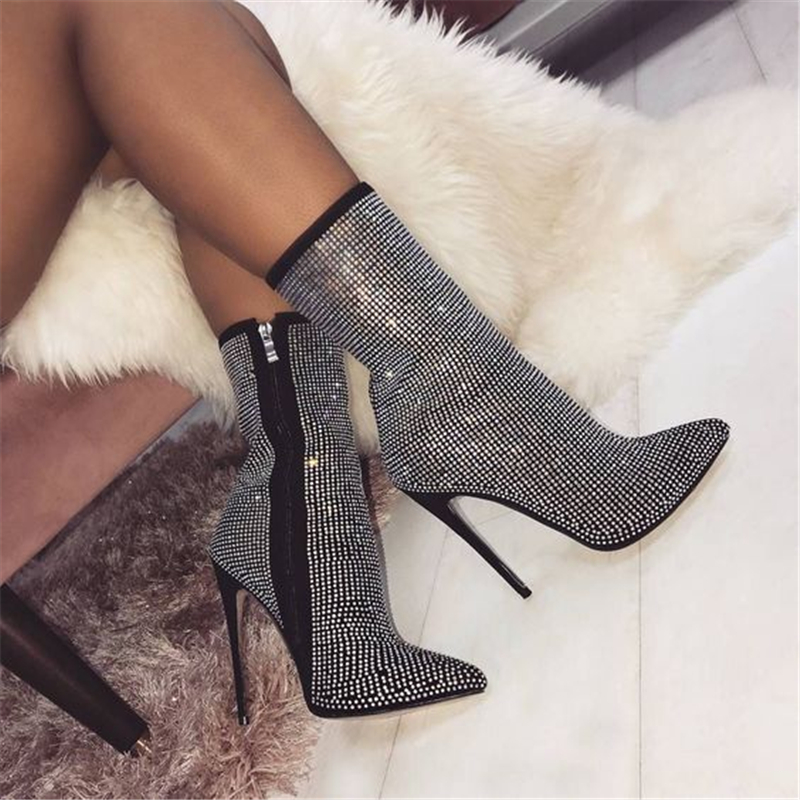 Women Ankle Boots Rhinestones High Heels Shoes Woman Zip Pointed Toe Sexy Crystal Boots for Females