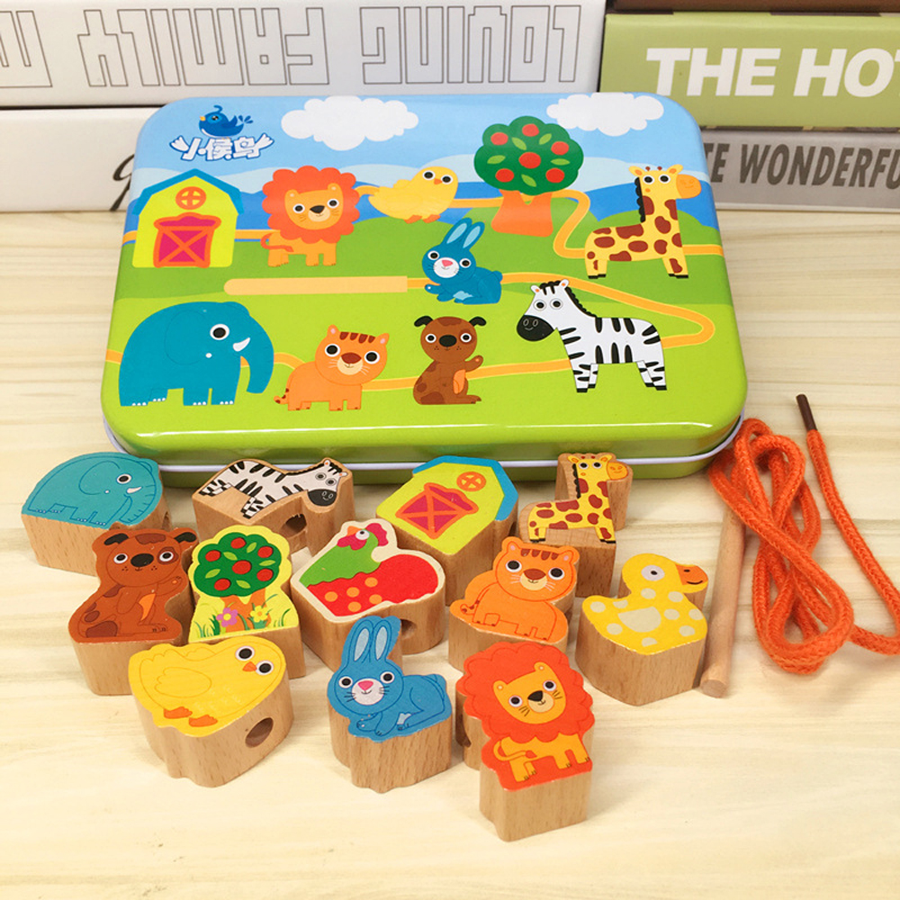 DIY Wooden Toys For Kids Cartoon Animals Fruit Baby Wood Blocks Stringing Threading Beads Game Educational Toy For Children Gift
